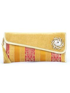Indian Wedding Clutch Bags with Crystal Brooch