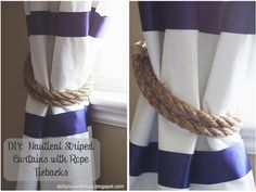 do it yourself divas: DIY: No Sew Striped Curtains with Rope Tiebacks -- Nautical classroom