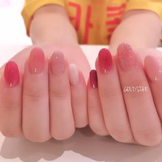 in 2020 in 2020 Stylish Nails, Trendy Nails, Cute Acrylic Nails, Cute Nails, Asian Nails, Korean Nail Art, Kawaii Nails, Sparkly Nails, Dream Nails