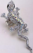 Unique Jewelry - Lizard Gecko Stretch Ring Crystal Rhinestone Animal Jewelry Silver RA05