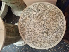 A round hunting Persian miniature design made for a table surface-my own design