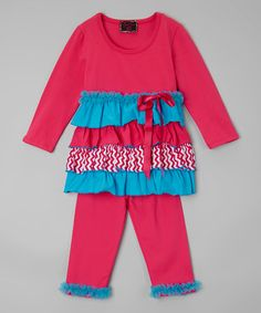 Look what I found on #zulily! Teal & Pink Tiered Top & Pants - Toddler & Girls #zulilyfinds