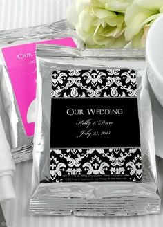 These coffee wedding favors bring a dramatically different flair to your special occasion... perfect for any wedding... creating casual elegance and complimenting your event! Personalized coffee presents an idea that's right in step with today's trends and current consumer tastes. And on the reception tabletops your coffee wedding favors are sure to be a conversation piece. An exclusive blend of the finest coffee your guests will enjoy the rich aroma of fresh roasted coffee the day after ...