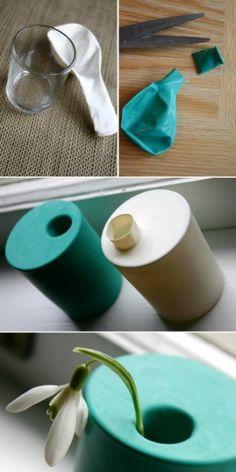 Ballon vaasjes, te maken met glas/vaasje met een ballon er om heen! Super leuk in verschillende kleuren.