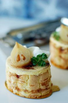 Poire William Mousse with Caramel Biscuit  by L' Atelier Vi