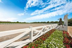 The sale includes a residential lot with permits already set in place so the new owner can build. The residential lot can accommodate a manse, pool, and tennis. Luxury Horse Barns, Pasture Fencing, Horse Farms For Sale, Horse Barn Designs, Farm Landscaping, Dream Barn, Dream Stables, Thing 1, Horse Property