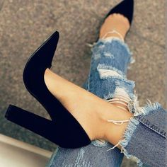 Solid Black Chunky Heel Pumps