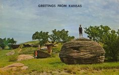 """GREETINGS FROM KANSAS Verso: """"MUSHROOM PARK. West of Salina, near Kanopolis Dam is Mushroom Park. This park features beautiful scenery and curious rock formations. It is of historical interest, as early day stage coach trails were near this park until they were forced out by hostile Indians."""" I love the strategically placed children. How dare those Indians be hostile. Of all the """"Greetings from Kansas"""" postcards I have, this is the least boring. next: PREHISTORIC ANIMALS at the PHOSPHATE ..."""