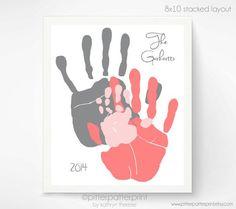 Personalized Hand Print Family Portrait Gift por PitterPatterPrint: