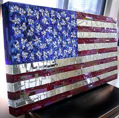 Stunning interpretation of Old Glory in glass and mirror mosaic ~ suitable for indoor/outdoor decor.