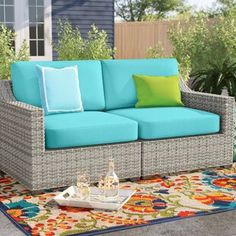 Mistana Lavina Outdoor Patio Daybed with Cushions Patio Loveseat, Patio Chairs, Corner Sofa Cushions, Ottoman Cushions, Wicker Sofa, Rattan, Patio Seating, Chairs For Sale, Outdoor Patios