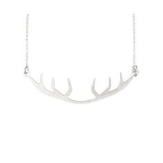 Matte silver over brass short necklace22cm long4cm extender chain6cm wide antler