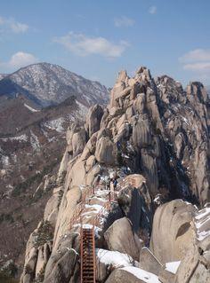 Ulsanbawi in the Seorak mountain range, South Korea