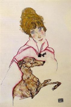Woman+with+Greyhound+(Edith+Schiele),+1916+-+Egon+Schiele