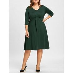 SHARE & Get it FREE | Plus Size Jersey Knot Midi  V Neck DressFor Fashion Lovers only:80,000+ Items·FREE SHIPPING Join Dresslily: Get YOUR $50 NOW!