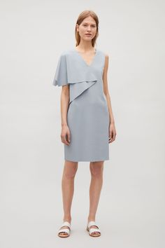 COS image 1 of Short dress with draped sleeve in Steel Blue