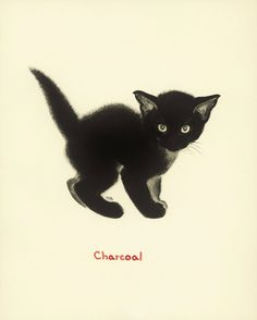 Charcoal the Kitten (Cream-Colored Background)    ✔ Vintage cat print, childrens storybook page measures 8 x 10 (20x25 cm). TIME Magazine
