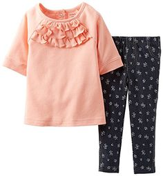 Girls' Clothing (newborn-5t) Mustard Flowery Top With Jeggings Carter's 3 Months Baby & Toddler Clothing