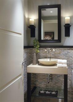 Modern Half Bath. Love the tile work and lighting