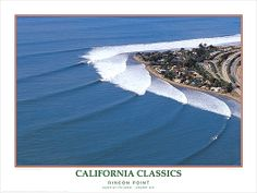 California Classics Rincon Point Surfing Poster Art Poster Print by Woody Woodworth, Poster On, Poster Prints, Art Prints, Queen Of The Coast, East Coast Usa, Point Break, Surfs Up, Huntington Beach, Its A Wonderful Life