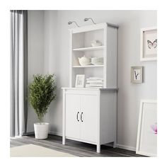 IKEA - HEMNES, Glass-door cabinet, white stain, , Solid wood has a natural feel.With a glass-door cabinet you can show off as well as protect… Ikea Hemnes Cabinet, Sideboard Cabinet, Hemnes Bookcase, At Home Furniture Store, Modern Home Furniture, Affordable Furniture, Cupboard Storage, Storage Cabinets, Home Furniture