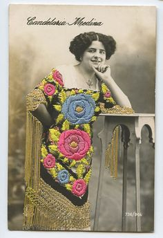 Candelaria Medina Embroidered Silk Photo Dancer Spain Glamour Lady 1910 Postcard | eBay