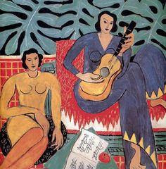La Musique by Henri Matisse from Albright-Knox Art Gallery Matisse Tattoo, Matisse Drawing, Matisse Paintings, Henri Matisse The Snail, Girl With Green Eyes, Painting Prints, Canvas Prints, Collage, Fauvism