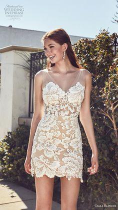 86197e1a1ea calla blanche s2019 lamour bridal sleeveless illusion v neck sweetheart  neckline full embellishment romantic mini dress