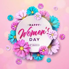 Buy Happy Womens Day Floral Greeting Card by articular on GraphicRiver. International Holiday Illustration with Flower Design on Pink Backgro. Women's Day 8 March, 8th Of March, Happy Woman Day, Happy Women, Women's Day Cards, Mothers Day Poster, 8 Mars, Womens Day Quotes, Florist Logo