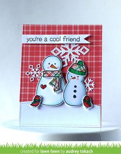 card christmas snowman snowflakes Lawn Fawn Making Frosty Friends Lawn Fawn Perfectly Plaid paper Christmas | by momma_audrey