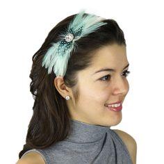 Feather Headband Embellishment w/Hackle/Guinea