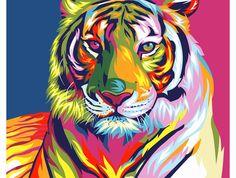 Картина по номерам, раскраска по номерам, paint by numbers, оригинальный подарок - Радужный тигр, Ваю Ромдони - Zvetnoe.ru - картины по номерам