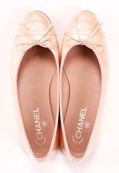 Shoes, ballet flat, classic, Chanel, irisé, beige, nude, light pink