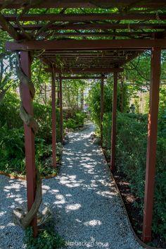 Ateljé Harmoni och Glädje — Almbacken Trädgårdsdesign Garden Structures, Outdoor Structures, Garden Arbor, Pathways, Fence, Dahlia, Vines, Sidewalk, Backyard