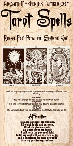 Tarot Spells.Note: Because everyone cast spells, magick, rituals, rootwork, prays, performs any type of magickal act differently I will not give you a step by step hand holding spell as I do not broadcast my personal practices here. Make the spells your own. This is just a guide to start from, if you so wish to use it as so.