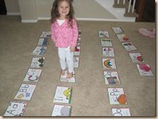 www.confessionsofahomewchooler.com   Call out a letter and have your child hop to it Call out a letter's sound and have your child hop to it Lay out A-Z large floor letter mats. Have them hop to the letters in ABC order Say a letter, have them toss a bean bag onto that letter's card.