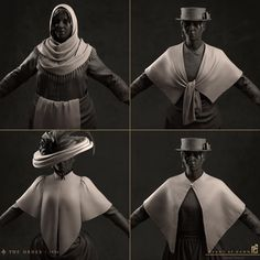 Upper left shawl was sculpted by hand and the others were draped in marvelous designer.