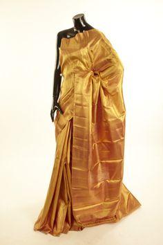 Kancheepuram, Kanjipuram- silk dark golden yellow saree with blouse