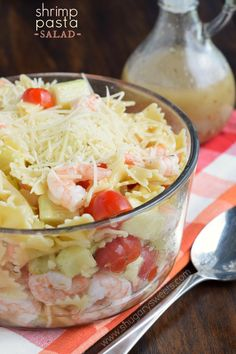Simple Shrimp Pasta Salad with a homemade Italian dressing. Perfect for lunch, dinner or potlucks!