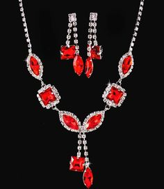 Ruby Red Crystal Rhinestone Formal Wedding Bridal Prom Party Pageant Bridesmaid Evening Mixed Marquise Square Stones Necklace Earrings Set Elegant Costume Jewelry