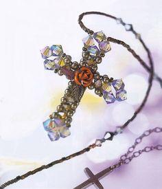 кулон крест из бисера и бусин, с металлической розой, схема, мастер-класс