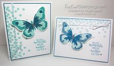 Dotty Angles Watercolor Wings Cards. butterfly, bold butterfly framelits, Stampin' Up.  #toocoolstamping