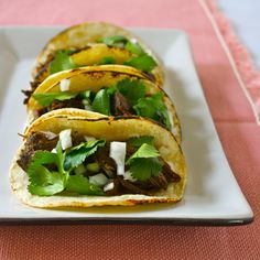 Spicy Slow Cooker Short Rib Tacos Omit tortilla and eat as a taco salad.  The filling is DELISH!!!