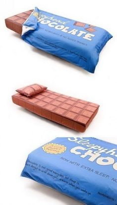 Geeky Bed Looks Like a Giant Chocolate Bar, Complete with Wrapper Objet Wtf, Giant Chocolate, Chocolate Dreams, Chocolate Lovers, Cool Inventions, Cool Beds, Tech Gadgets, Bed Sheets, Cool Things To Buy