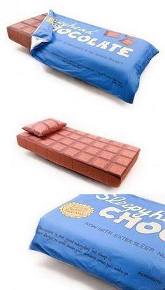 choclate bar bed. hahaha!