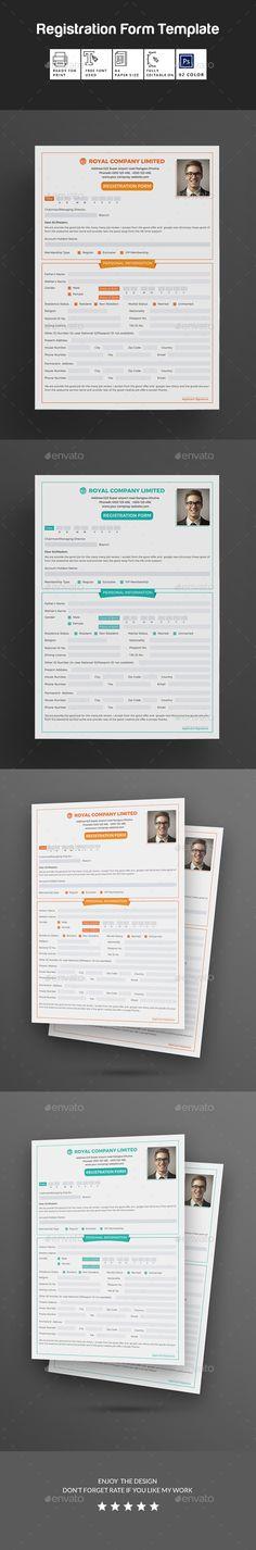 Registration Form Template v9 by Keboto on @creativemarket - employee registration form
