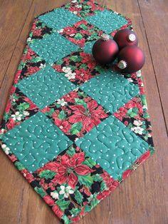 Poinsettias Table Runner / Christmas Table Runner. $23.00, via Etsy.