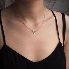 """Delicate Silver Triangle Necklace on 18"""" Silver Chain - Symbolizes Resilience"""