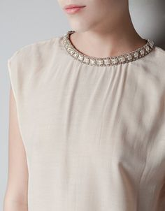 TOP WITH STONES NECKLACE - Shirts - Woman -