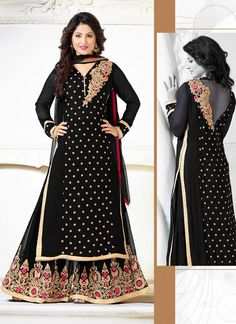 Black Wholesale Designer Anarkali Suits Collection Catalog  Buy Now @ http://www.suratwholesaleshop.com/salwar-kameez/anarkali-suits?view=catalog